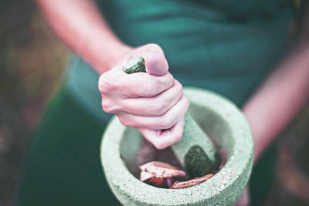 Hands holding fragrant Lavendar