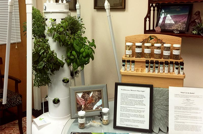 wellBeing practice, essential oils, garden tower