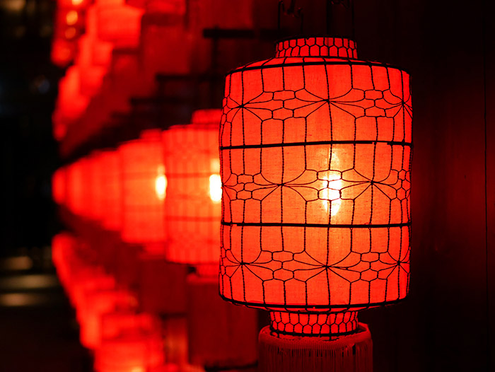 Warm red lanterns in a row